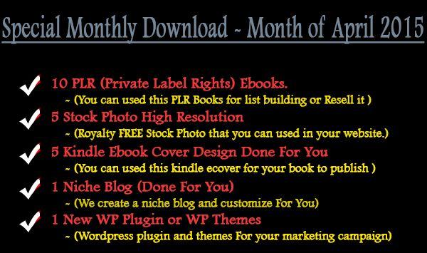 PLR Special Monthly Download(arpril 2015)