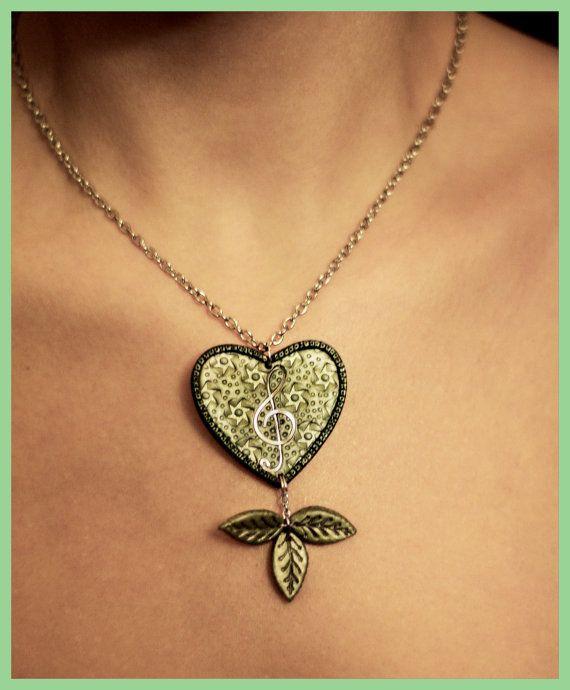 Verde collar joyas musicales música amante corazón collar músico regalo San Valentín regalo música regalo para su regalo de cumpleaños para mujer regalo