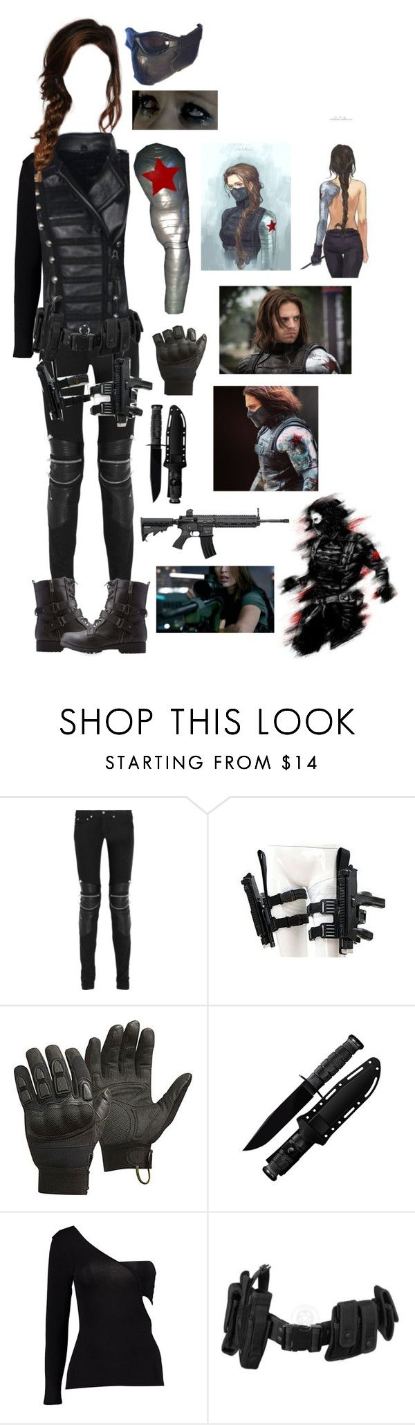 """""""The Winter Soldier - Bucky Barnes (Female)"""" by blackwidow321 ❤ liked on Polyvore featuring Sebastian Professional, Yves Saint Laurent, CamelBak, Boohoo, POLICE, Bamboo, Gaia, marvel, CaptainAmerica and DC"""