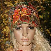 Купить Шапочка с вышивкой - бежевый, цветочный, шапочка, шапочка женская, женский головной убор