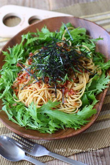 細かく刻んだカリカリベーコンとシャキシャキの水菜どっさりのパスタ☆醤油ベースで食感も味もたまらない!(温かいパスタです)