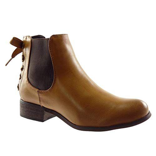 2ec51675b44 Angkorly - Chaussure Mode Bottine Chelsea Boots Femme Lacet Ruban Satin Talon  Haut Bloc 3.5 CM - Intérieur Fourrée - Camel 2 - F911 T 38