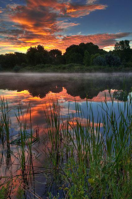 Misty Morning Sunrise, Chatfield State Park, Littleton, Colorado,