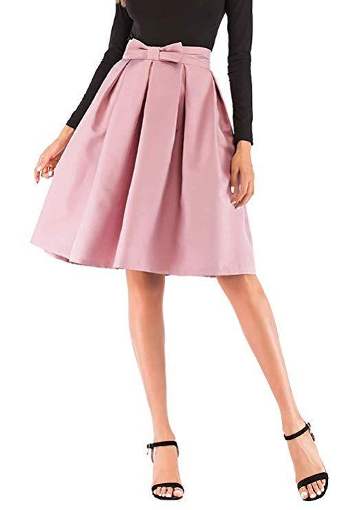 edb976bd85fe Hanlolo Teen Girls Pink Skirts Pleated Flared High Waisted Midi Skater Skirt  Hanlolo Womens 50s Vintage