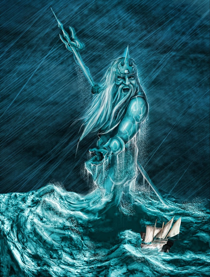 Poseidon -- Greek god of earthquakes, hurricanes, water... Brother of Zeus the king sky god and Hades the Underworld enthronement... Why do people always consider him with a long beard and mean look? For the true mythology -- READ PERCY JACKSON. :)