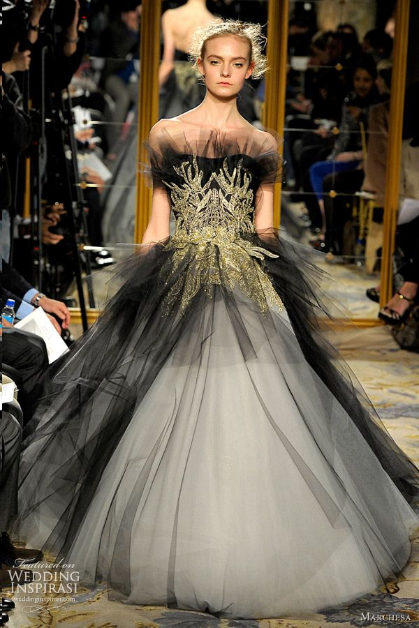 Bridal Black - black wedding dress; black wedding gown; black bridal gown with white tulle and gold waist detail - Marchesa Winter Fall 2012 2013