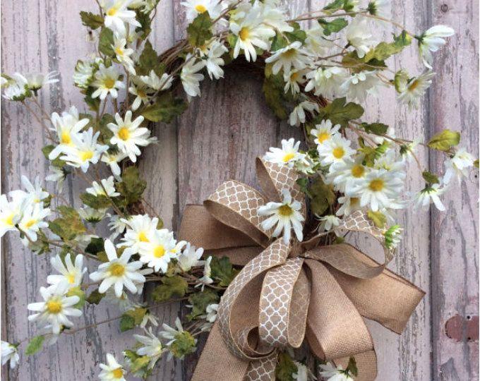 Daisy Wreath Spring Flower Summer Front Door Wreaths