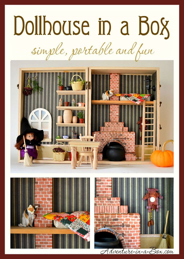 This tutorial will tell you how to make the simplest and most portable dollhouse: it is built inside of a box. Yet it has three rooms, plenty of furniture and even a fireplace!