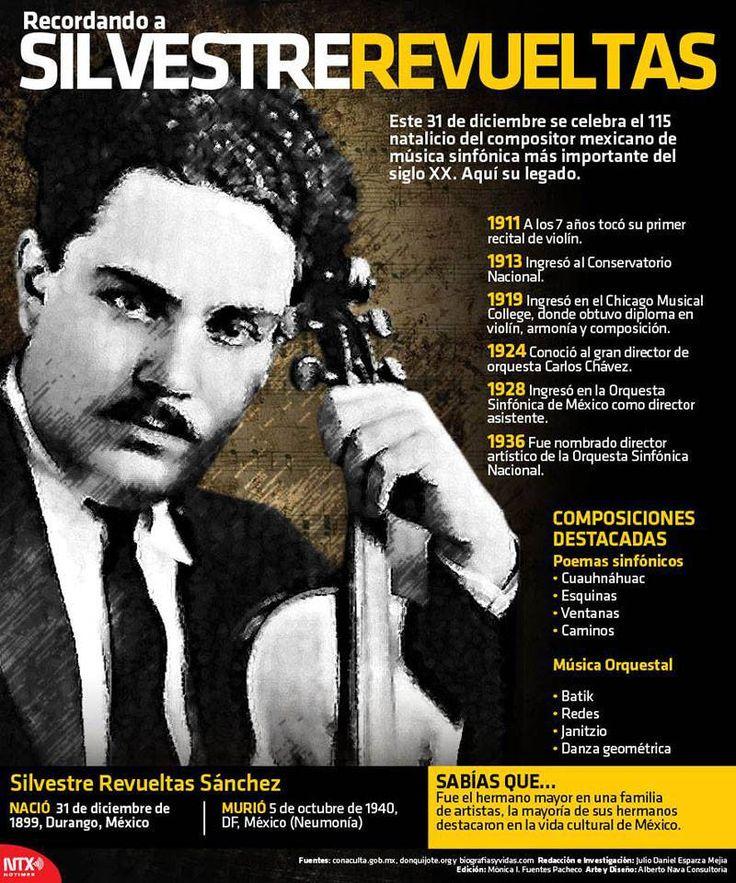 #Infografia #SilvestreRevueltas Compositor mexicano de música sinfónica. Fue Director Artístico de la Orquesta Sinfónica Nacional. #México #música #cultura #sociedad #orquesta