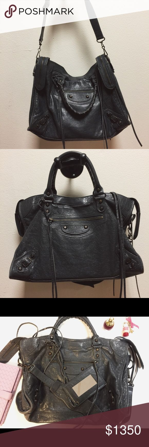 Balenciaga Classic City bag Dark grey, soft lambskin with brass hardware, slightly used, comes with mirror and dust bag and authenticity card, made in Italy. Balenciaga Bags Shoulder Bags