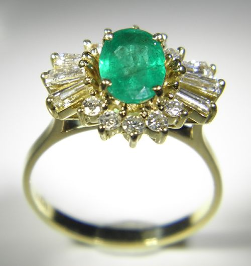 18ct Yellow Gold 17 stone Emerald and Diamond Cluster Ring - Pawnbank