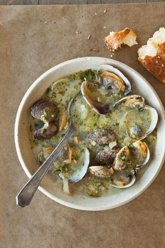 Clams in Fennel Broth with Parsley Vinaigrette by williams-sonoma #Clams #Fennel