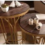 Ocella Matte Gold End Table (Set of 2)