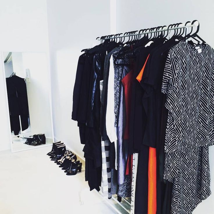 Racks of clothes lined up for #NZFW starting today!