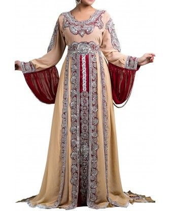 Off White and Maroon color Kaftan-Crepe