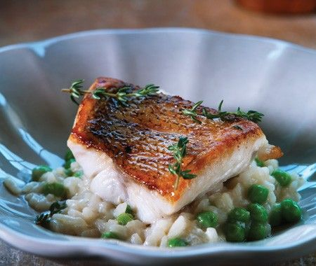 Risotto with Peas & Yellow Perch Fillets - 1 batch risotto  8 Lake Erie yellow perch fillets, about 2 oz. each*  1 tbsp olive oil  1 tsp salt  1 tbsp vegetable oil  2 tbsp butter  1/2 cup frothed butter sauce