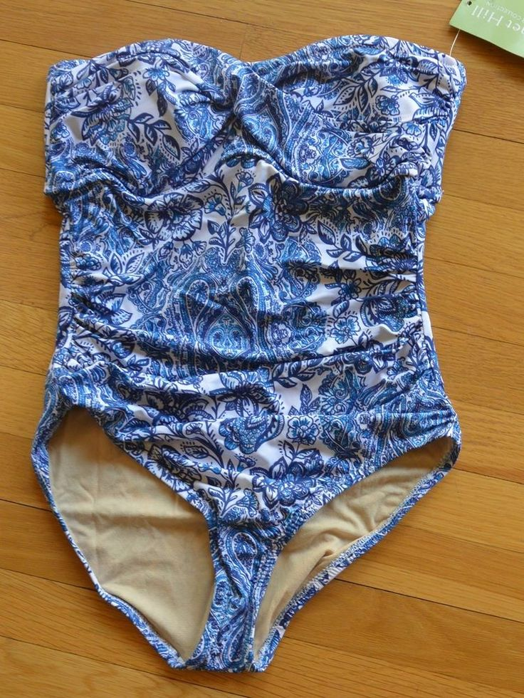 Garnet Hill bandeau ruching blue and white one piece swimsuit new with tags #GarnetHill #OnePiece