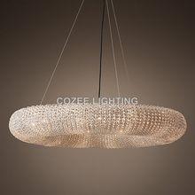 Modern Cristal csillárok Lighting RH Round kristálycsillár Halo Hanging Light Home Hotel nappali és étkező dekoráció (China)