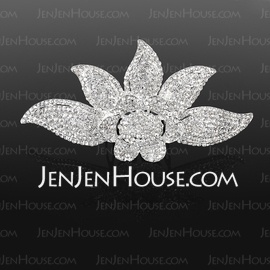 Hairpins Wedding Special Occasion Rhinestone Silver Headpieces With Clear (042019246) - JenJenHouse