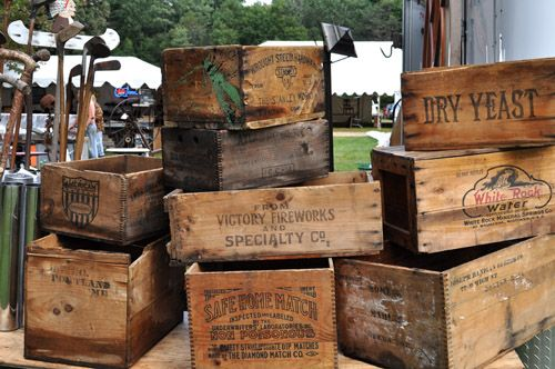 old wooden boxes LOVE them...Why...I don't have a clue