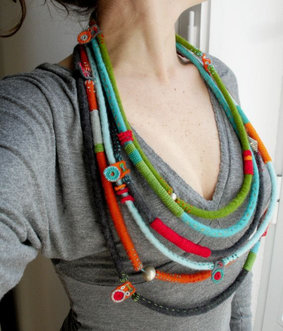 Felt, crochet and silver necklace #251