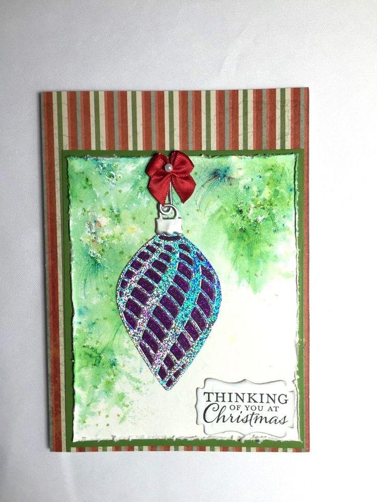 Handmade christmas card with ornament handmade christmas for Handmade christmas cards pinterest
