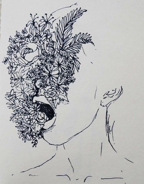 Dibujo chica y flores. microfibra