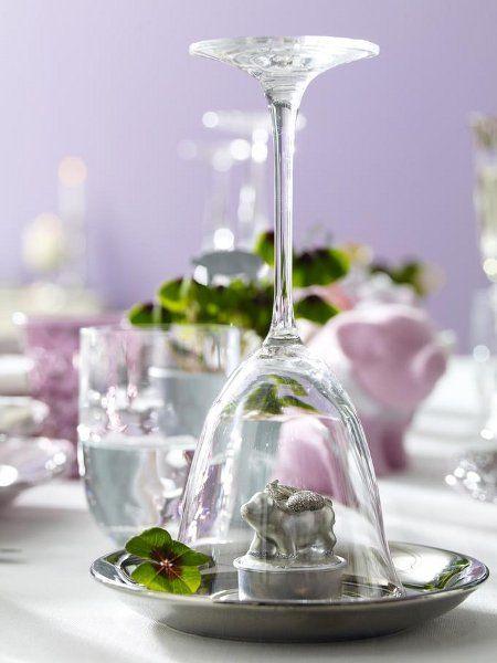 Partydeko-Silvester/Schweinchen unterm Glas
