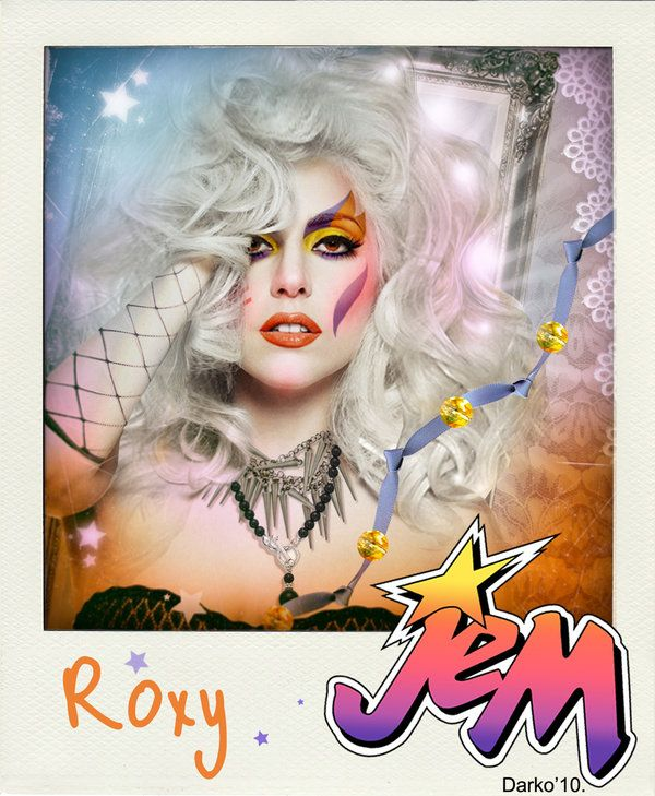 Jem and the Holograms celebrity mockups - Lady Gaga as Roxy