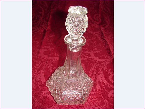 Mid Century Modern Clear Glass Wine Whiskey Brandy Decanter