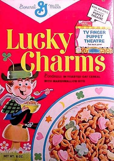 """Lucky Charms cereal  c. 1964 - """"They're magically delicious!"""" Our parents only bought this once because we ate all the charms but not the cereal!"""