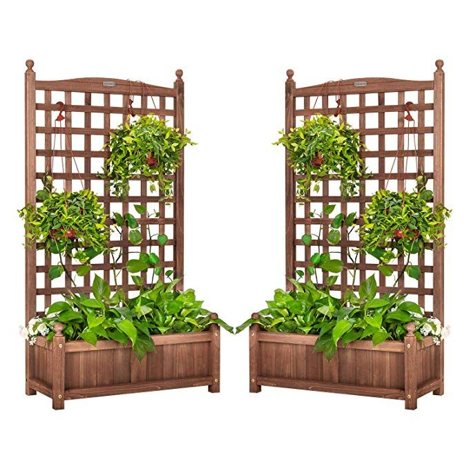 Amazon Com Vivohome Wood Planter Raised Bed With Trellis 48 Inch Height Free Standing Planter For In 2020 Raised Garden Planters Wood Planters Garden Planter Boxes