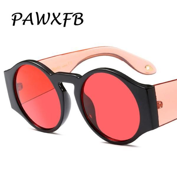#FASHION #NEW Pop Age 2018 New Round Sunglasses Women Men Ocean Red Blue Yellow Sunglasses Female Steampunk Eyeglasses Lunettes de soleil