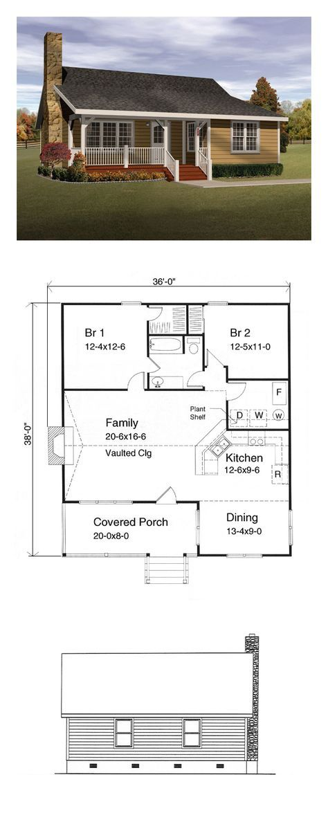 Country Style COOL House Plan ID: chp-15947   Total Living Area: 1143 sq. ft., 2 bedrooms and 1 bathroom. #countryhome