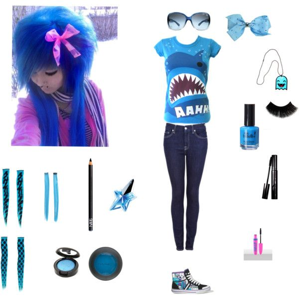 Blue emo clothes by nasialove on Polyvore featuring 7 For All Mankind Vans Prada MAC ...