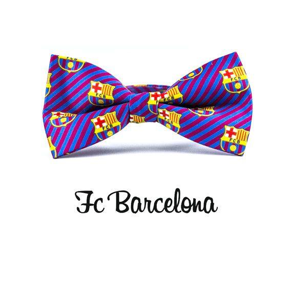 Mens Bowtie FC Barcelona Print / Soccer Fan Bow by BobbysHandcraft