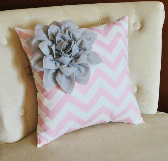 Gray Corner Dahlia on Light Pink and White Zigzag Pillow -Chevron Pillow-