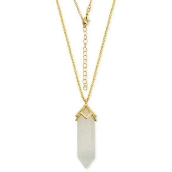 """White Agate Long Pendant Necklace 34"""" Silver-Plate Gold Tone $80"""