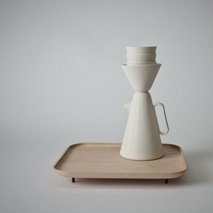 """The Sucabaruca ceramic and wood filtered coffee set by Luca Nichetto in collaboration with Lera Moiseevasa adds elegance and history to a daily tradition. It will be on view in the exhibition """"Walk the Line"""" at gallery Spazio Rossana Orlandi. Photography courtesy of Luca Nichetto."""