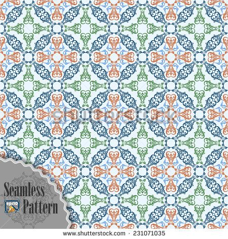 Seamless pattern with ornamental oriental arabesque in assorted colors;Symmetrical with borders. The elements are grouped for easy edit colors and shapes.  - stock vector
