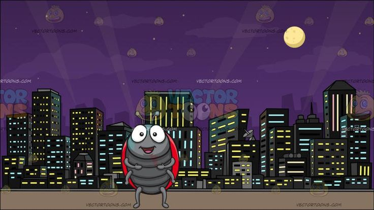 A Cheerful Ladybug With A View Of The City At Night Background :  A ladybug with a gray body six legs and two antennae two big eyes a red with black spots outer shell stands while parting its lips to smile in happiness and A cityscape with a view of illuminated buildings full moon and the night sky