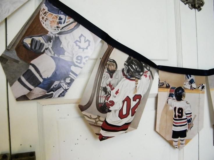 Hockey bunting banner, vintage repurposed children story book, bedroom / birthday garland, gift under 20