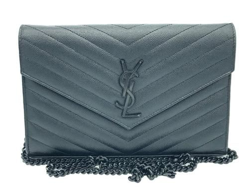 Saint Laurent YSL Medium Chain Wallet WOC Crossbody Black on Black  1750 19c194dce7464