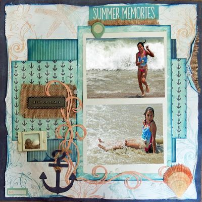 Summer Memories with Donna! Hi Donna here today with a layout I did using Quick Quotes new line Anchors Away! In July we had the pleasure of taking our oldest granddaughter to the beach for a whole week. So much fun and so many memories, so this line is just perfect to scrap all your beach memories!