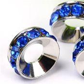 Sølv forsølvet smykkedele til sølv smykker med rhinsten blå perle