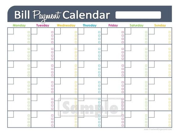 bill payments calendar - editable