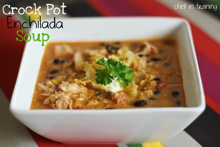 Crock Pot Chicken Enchilada Soup!  This soup is AMAZING!  It is so flavorful, easy, and delicious!