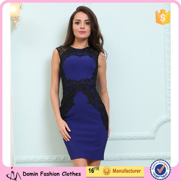 New Fashion Summer Sleeveless Lace Insert Women Peplum Dresses