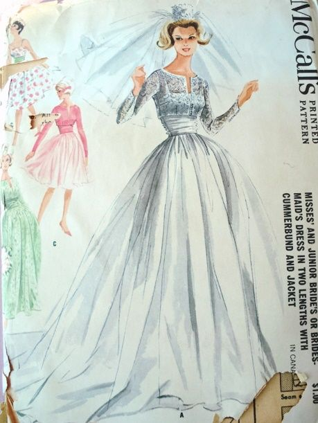 1960s Dreamy Wedding Gown Bridal Bridesmaid Dress Pattern 2 Lengths with Cummerbund and Jacket McCalls 6382 Vintage Sewing Pattern Bust 31 or 34