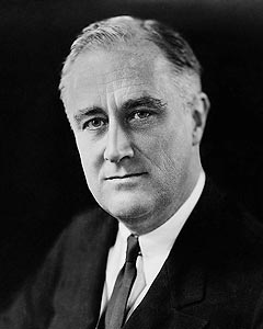 Official White House portrait of Franklin Delano Roosevelt, the 32nd President of the United States, 1933-1945.  The only American president elected to more than two terms.  Before his election he had been diagnosed with polio, which resulted in permanent paralysis from the waist down. He was able to convince people he was getting better.  Fitting  his hips and legs with iron braces, he laboriously taught himself to walk a short distance by swiveling his torso while supporting himself with a…
